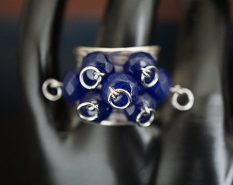 925 Silver Clustered Sapphires Band Ring