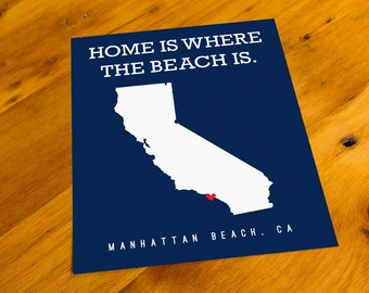 Manhattan Beach, CA - Home Is Where The Beach Is - Art Print  - Your Choice of Size & Color!