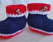 NE Patriots,Patriots booties,sports booties,football booties,crochet baby slippers,nautical shoes,toddler slippers,red white and blue bootie