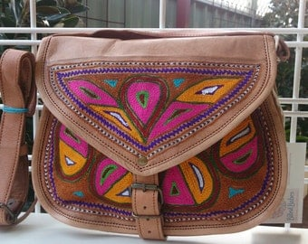 LEATHER handbag, LARGE size, handcrafted, boho chic, vintage look, uniquely embroided, naturally cured cross body long shoulder strap