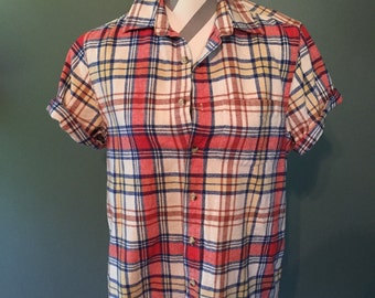Vintage Plaid Short-Sleeved Button Front Top