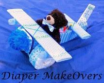 Airplane Diaper Cake - Unique Baby Boy Diaper Cakes - Unique Baby Shower Gifts or Decoration - Unique DiaperCakes -