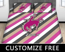 Cowgirl Rodeo Duvet Cover, Cowgirl Bedding, Sports, Girls, Monogram, Twin, Full, Queen, King, Cotton, Won't Fade