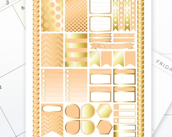 Peach & Gold Printable Planner Stickers for the Classic MAMBI Happy Planner