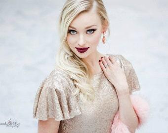 "Janay Marie - ""Kara"" Gown - Sleek Champagne Sequin Evening Gown"