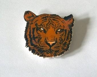 Hand drawn tiger brooch.