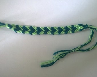Dark green and mint heart friendship bracelet.