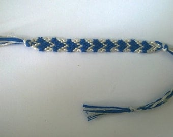 Blue and white heart friendship bracelet.
