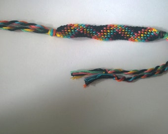 Black with multi-colour zigzag friendship bracelet (243)