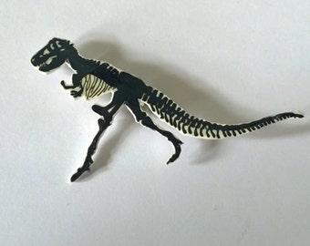 Black T-rex bones brooch