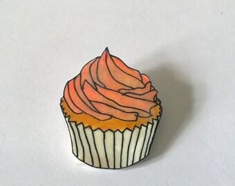 Pink cupcake shrink plastic brooch