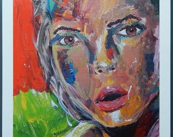 Abstract Art Woman Portrait Print, Modern Art Print, Square Print, Painting, Pop Art, Modern Art Print, Modern Design, Colorful art 31x31