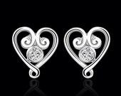 Kingdom Hearts Earrings 925 Sterling Silver Plate Sora Roxas Heartless KeyBlade Video Game Disney Wedding Nobodies Paopu Fruit Kairi