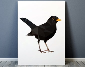 Low poly art Bird poster Blackbird print Animal art Colorful decor TO353-1