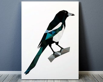 Wall decor Geometric art Magpie poster Bird print TO366-1