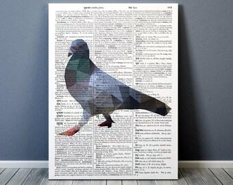 Bird print Wall decor Pigeon poster Geometric art TO297