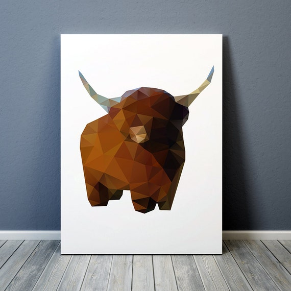 Colorful decor Yak poster Buffalo art Polygonal print TO162-1