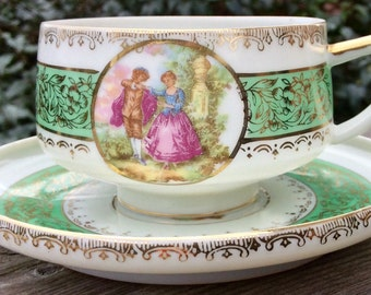 Mint Condition Occupied Japan Footed Translucent and Fragile Teacup and Saucer