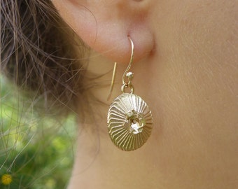 Plankton Coccolithus - Coccolithophore Earrings - Marine Biology - Science Jewelry in bronze, brass & silver