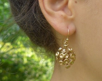 Plankton Coccolithophore - Discosphaera earrings - marine biology - science jewelry in bronze, brass & silver