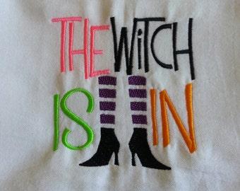 Embroidered Halloween Flour Sack Dish Towel