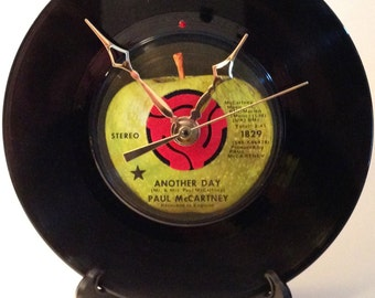 "Recycled PAUL McCARTNEY & WINGS 7"" Record • Song: Another Day • Record Clock"
