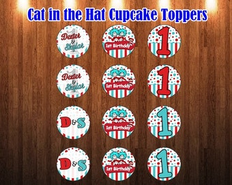 Cat in the Hat cupcake toppers, cat in the hat birthday,  thing 1 thing 2 party, cupcake toppers, party supplies, printable, twins birthday