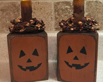 Pumpkin Candle Block with LED light and pip berry ring