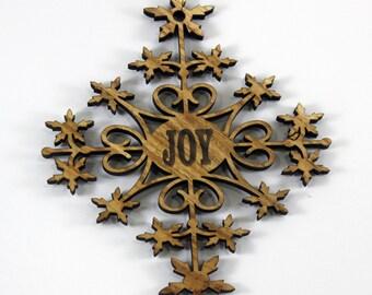 Ornate Joy holiday ornament (Ash)