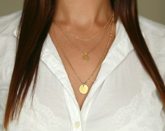 SALE Gold Layered Necklace Disk Necklaces Layered Necklace