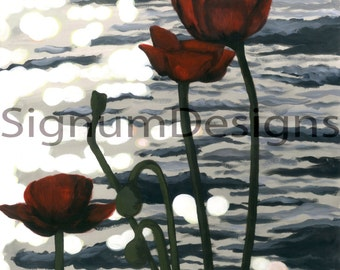 Riverside Poppies ~ A4 Fine Art Print From Original Acrylic Painting