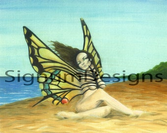 Swallowtail Butterfly Lady ~ 8x10in Fine Art Print From Original Mixed Media Artwork