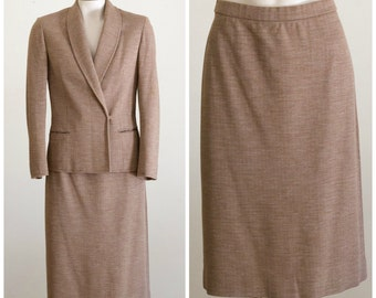 Tan tweed skirt suit from Butte Knit