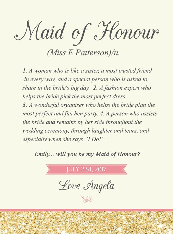 Maid of Honor Wine Labels Dictonary Definition of a Maid of