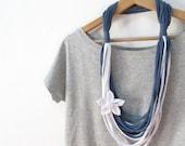 Fabric Necklace, Urban Fabric Jewel, Cotton Jewelry, Fabric Flower, Blue White Tshirt Scarf, Loop Scarf Necklace, Modern jewelry, For Her