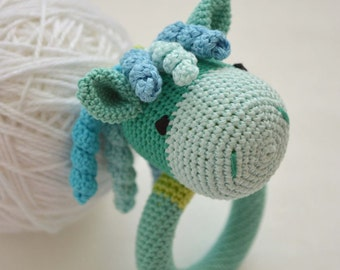 Natural Teether, Rattle, Horse, organic Teether, safe rattle, handmade, crocheted horse
