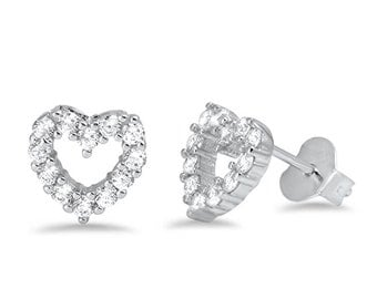 Cz Heart Stud .925 Sterling Silver Earrings