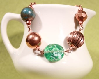 Lampwork And Porcelain Beaded Copper Bracelet