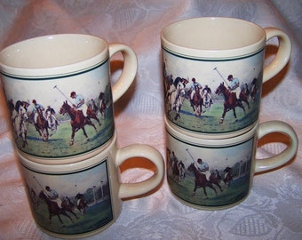Vintage 1988 Polo Ralph Lauren Japan Coffee Cups Mugs Set of 4 Each.
