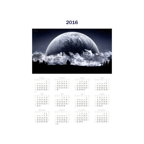 Moon Phase Calendar 2016 or 2017 One Page 8 x 10 Instant Download