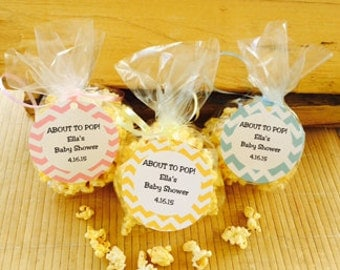 24 popcorn tags,  popcorn party favors,  favor tags, treat tags, baby shower popcorn tags, popcorn baby shower, chevron baby shower favors