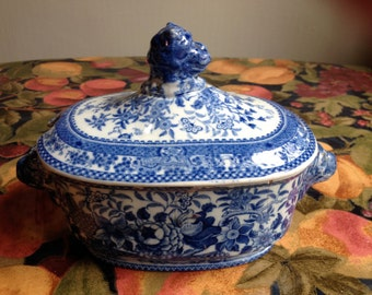 Antique Blue and White Covered Dish