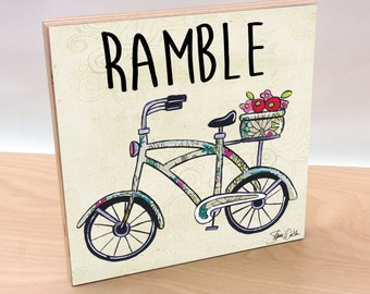 Bike art block print . Bicycle decor for home or office. Bike decor for baby nursery and kids room. Bicycle accessory. Bike lover art