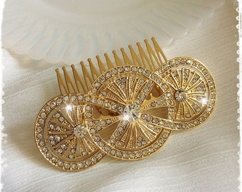 """1920s Art Deco Great Gatsby Inspired Crystal Gold Comb Wedding Hair Accessory-Vintage Bridal Headpiece-Art Deco Crystal Comb-""""KRISTINA gold"""""""