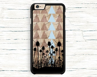 iPhone 6 Case, iPhone 6 Plus Case - Flowers on Wood Texture