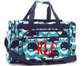 """Personalized 23"""" Navy Whale Print on Aqua Waves Duffle Bag/Tote"""
