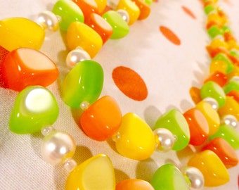 Vintage Orange Yellow Green Double Strand Necklace Beads Shimmer 60's