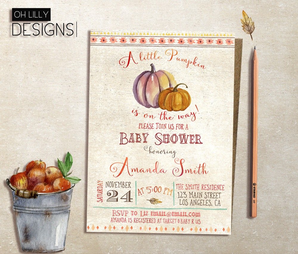 little pumpkin baby shower invitation fall baby by ohlillydesigns