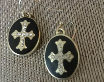 Designer Konstantino Inspired Wire Earring/Black  with Crystal Cross