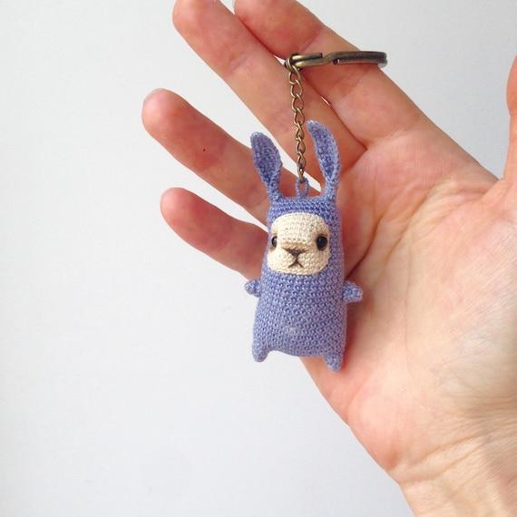 Amigurumi Bunny Pencil Holder : Cute little crochet blue bunny keychain amigurumi bag charm
